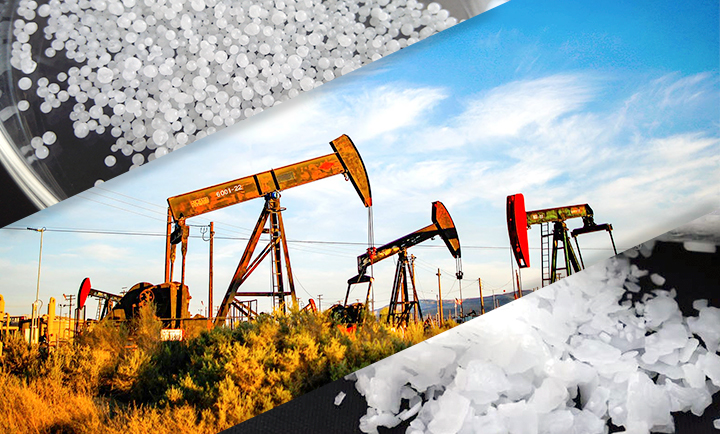 Sodium Hydroxide in several applications by the petroleum and natural gas industry for production (and exploration) and in the processing of products.